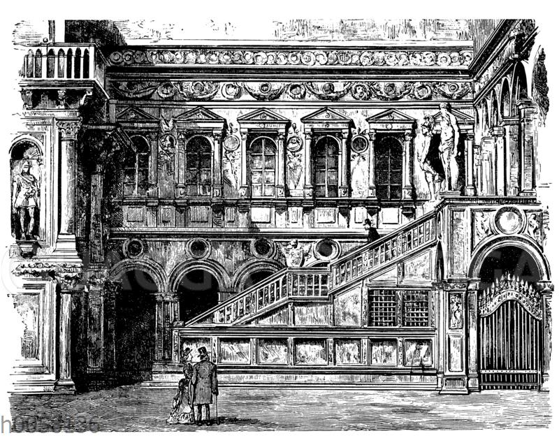 Treppe im Hof des Dogenpalastes in Venedig