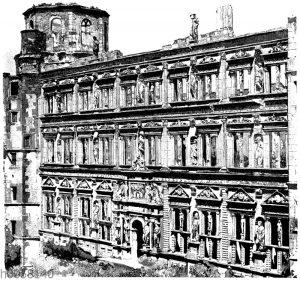 Fassade des Otto-Heinrichsbaues im Schloß zu Heidelberg