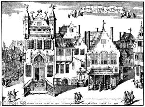 Das alte Rathaus zu Antwerpen vor seiner Zerstörung im Jahre 1564