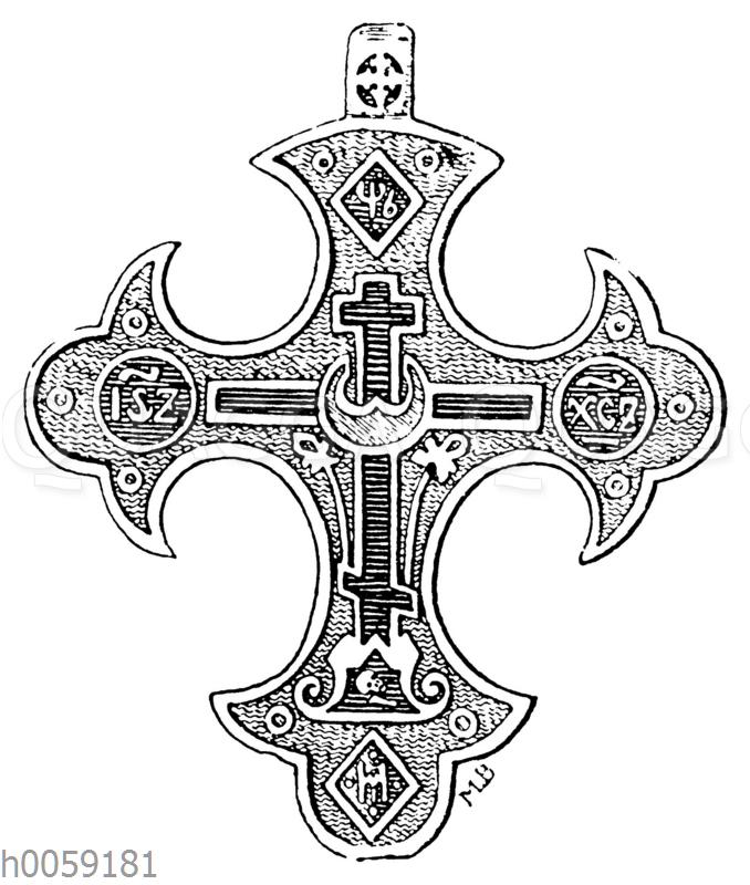 Russisches Brustkreuz der Altgläubigen (starovieri) aus der zweiten Hälfte des 17. Jahrh.
