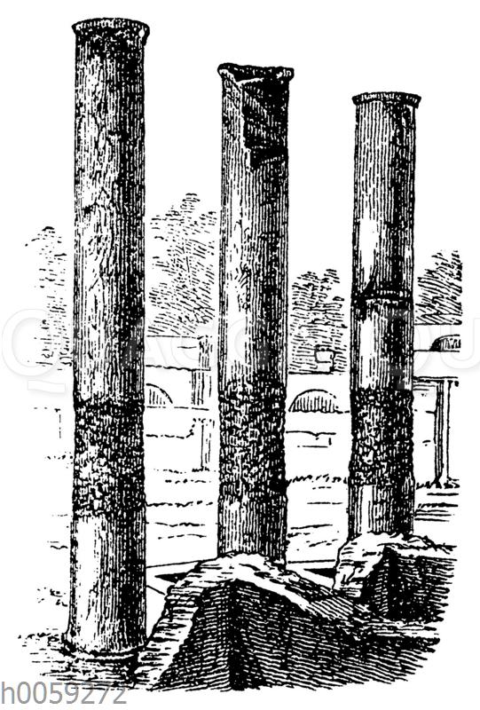 Ruinen des Serapistempels mit den Spuren der Bohrmuscheln