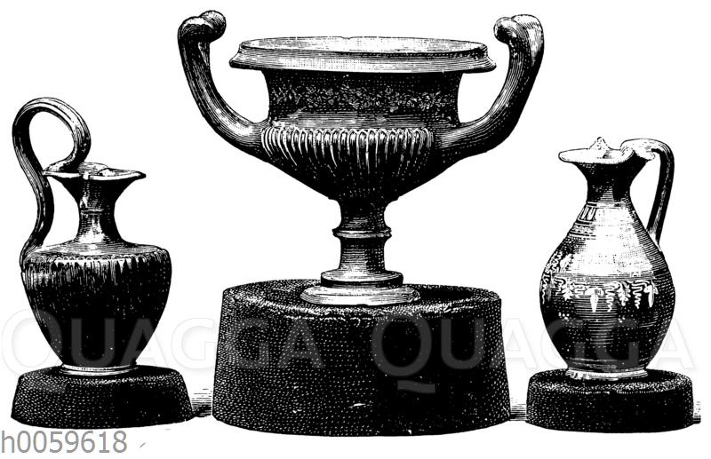 Antike schwarzgrundige Terracottagefäße