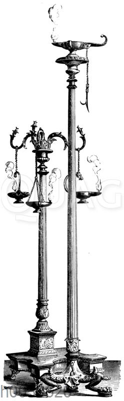 Antike Bronzelampen und Kandelaber