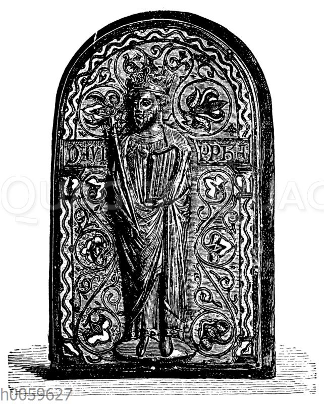 Romanische Altarplatte mit Grubenschmelz und Relieffigur
