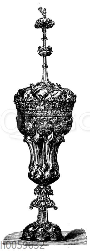 Gotischer Knollenbecher in Silber getrieben