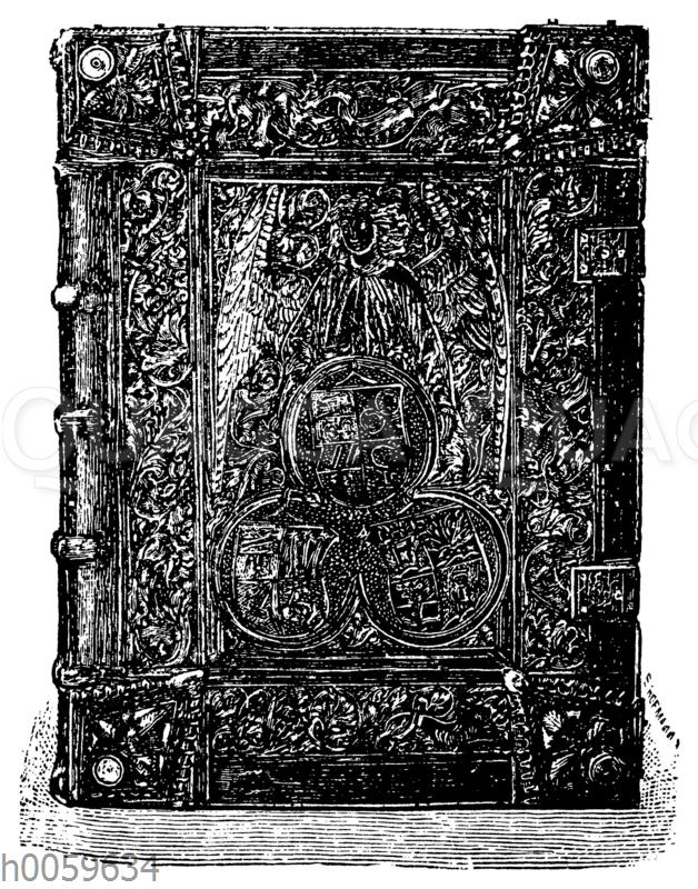 Gotischer Bucheinband aus geschnittenem Leder