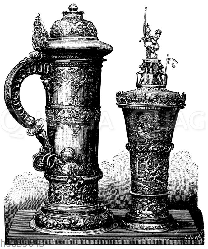 Silbernes Trinkgerät Henkelkrug und gotisierender Deckelpokal