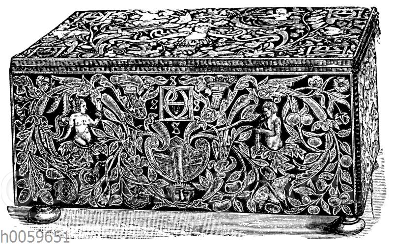 Stickerei mit Figuren und Ornament in applizierter Arbeit. Kästchen mit dem Monogramm der Diana von Poitiers