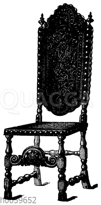 Stuhl mit geschnittenem Leder