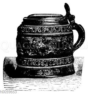 Trinkkrug mit Henkel und Deckel. Steinzeug von Kreutzen