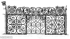 Renaissancegitter von Eisen mit Blumen und gewundenem Stabwerk