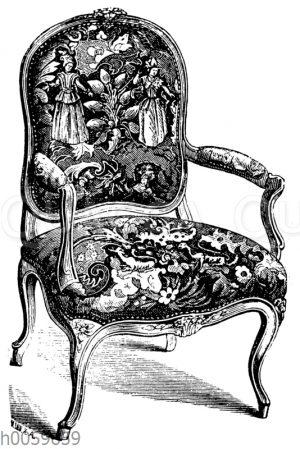 Armstuhl mit figürlichem Gobelingewebe