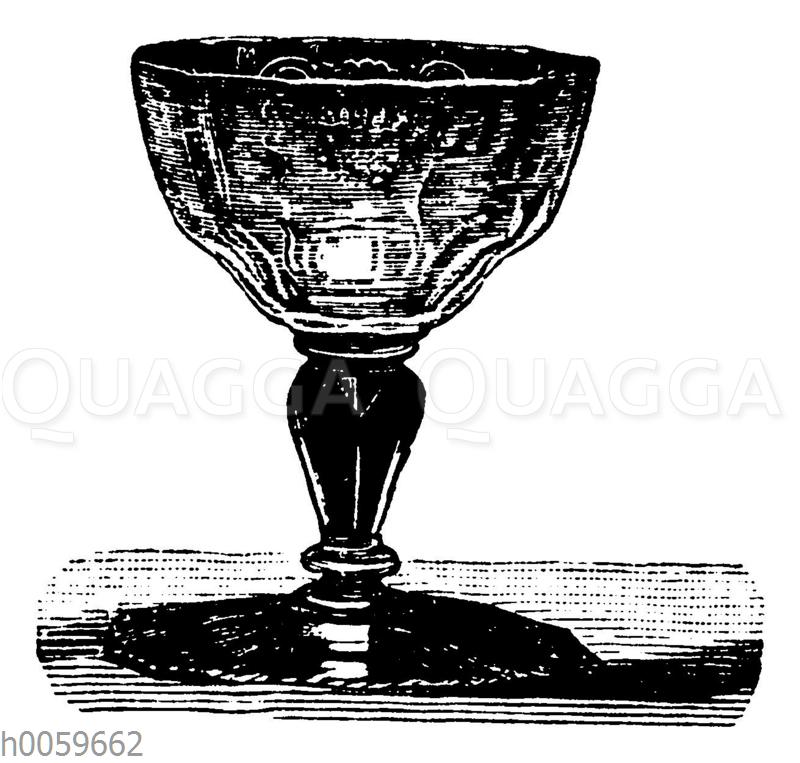 Böhmisches facettiertes und graviertes Glas