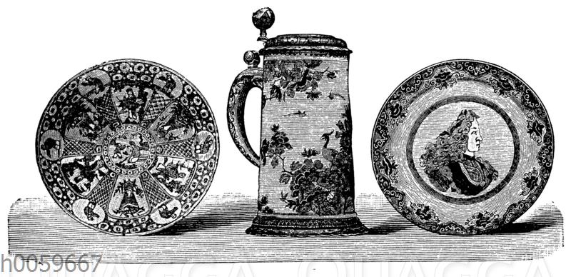 Krug und Teller in Delfter Fayence