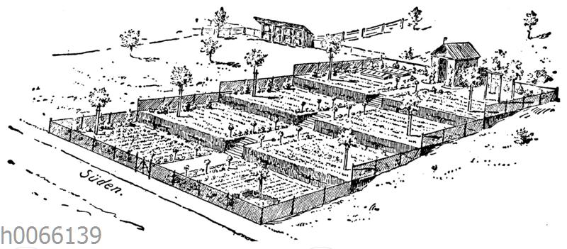 Terrassenförmige Anlage des Gartens