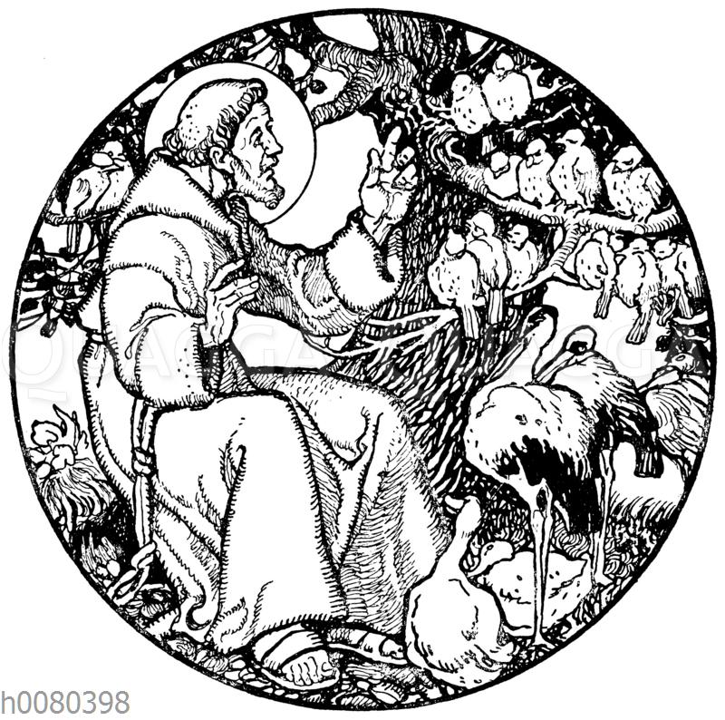 Der heilige Franziskus predigt den Vögeln