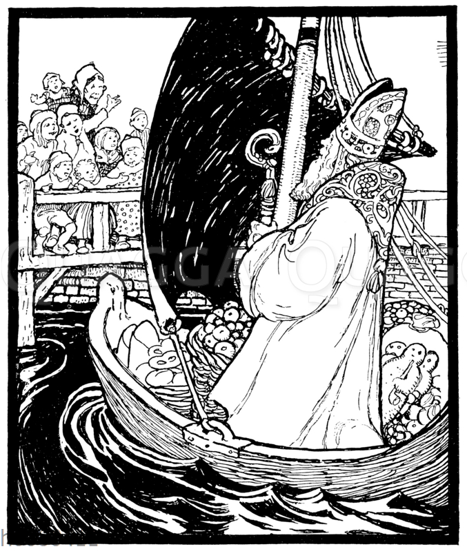 Nikolaus kommt in einem Boot