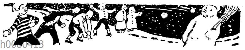 Kinder werfen Schneebälle auf einen Schneemann