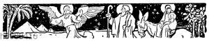 Engel zeigt den Hirten den Weg zur Krippe
