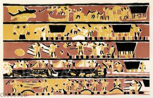 Bemalte Balken von Häusern der Palau-Inseln