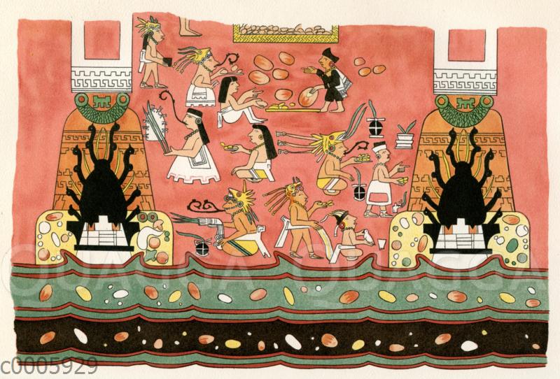 Wandgemälde eines Gebäudes von Teotihuacan in Mexiko