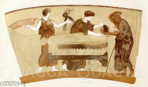 Totenklage. Attische Lekythos im Berliner Museum