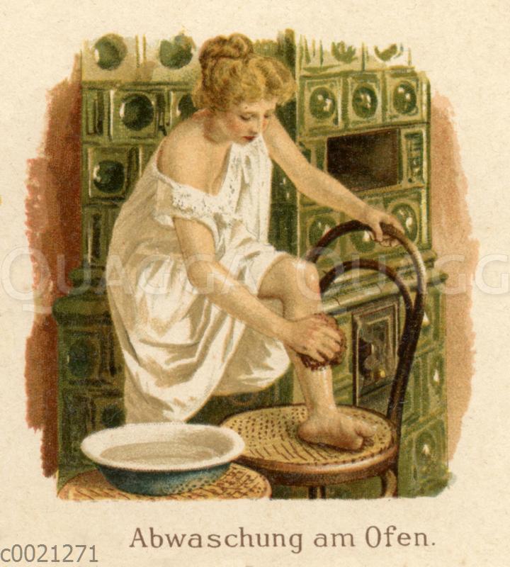 Wasserwendungen in der Krankenpflege: Abwaschung am Ofen