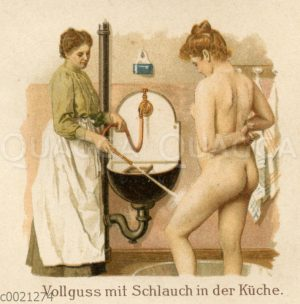 Wasserwendungen in der Krankenpflege: Vollguss mit Schlauch in der Küche