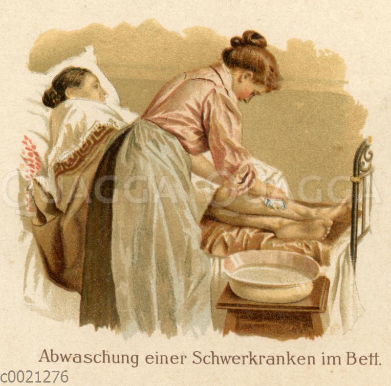 Wasserwendungen in der Krankenpflege: Abwaschung einer Schwerkranken in Bett