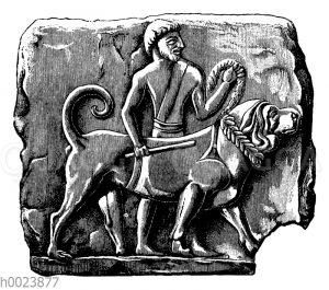 Diener mit Hund. Neubabylonische Terracottaplatte