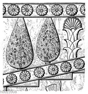 Cypressen und Palmen. Relief von Persepolis