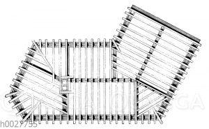 Deutsche Balkenlage eines Gebäudes mit stumpfer Wiederkehr