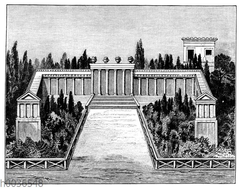 Inneres eines kleinen schmucklosen römischen Gartens nächst einer Villa