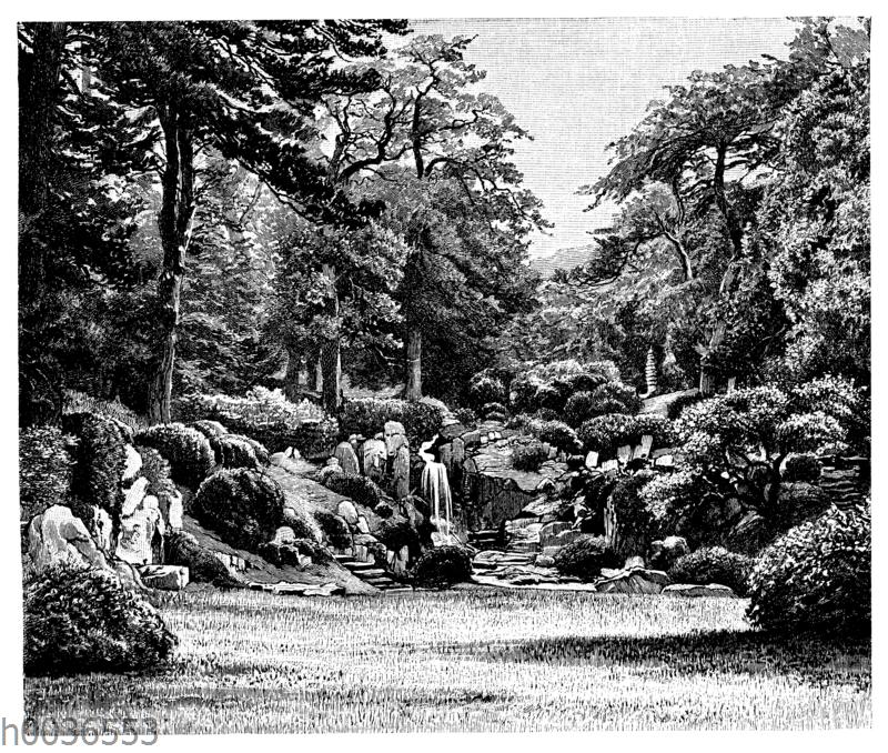 Partie aus dem kaiserlichen Garten in Tokio