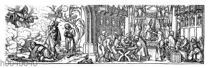 Die wahre und die falsche Vergebung der Sünden. Holzschnitt von Hans Holbein d. J. (um 1497-1543) gegen den Ablasshandel