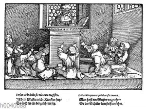 Eine Schulstube im 16. Jahrhundert.