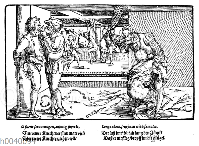 Bestrafung von Knechten. Faksimile des Holzschnittes von Hans Burgkmair in den 'Bildern zu Schimpf und Ernst'.