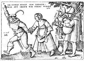 Tanzende Bauern. Nach dem Kupferstich