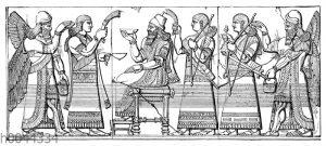 Assyrischer König in feierlicher Umgebung von Hofbeamten und cherubartigen Genien