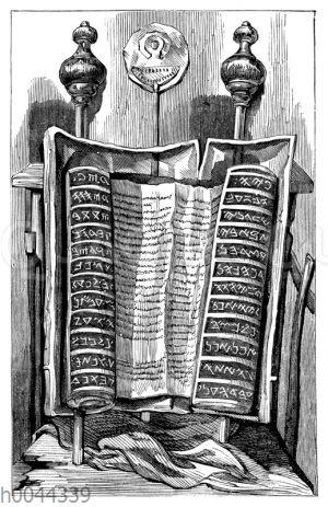 Die Samaritanische Gesetzesrolle (Pentateuch) in Kapsel