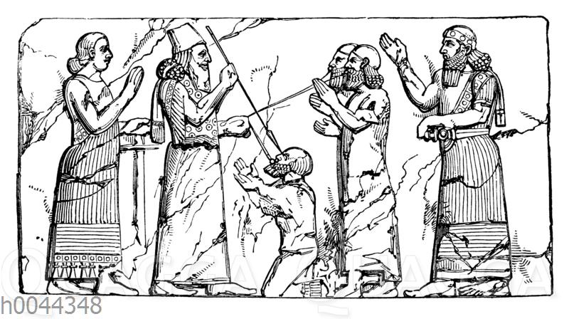Ein assyrischer Herrscher blendet einen Gefangenen