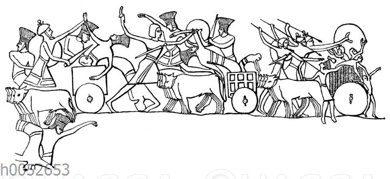 Szene aus einer Schlacht zwischen Ägyptern und Sarden einerseits