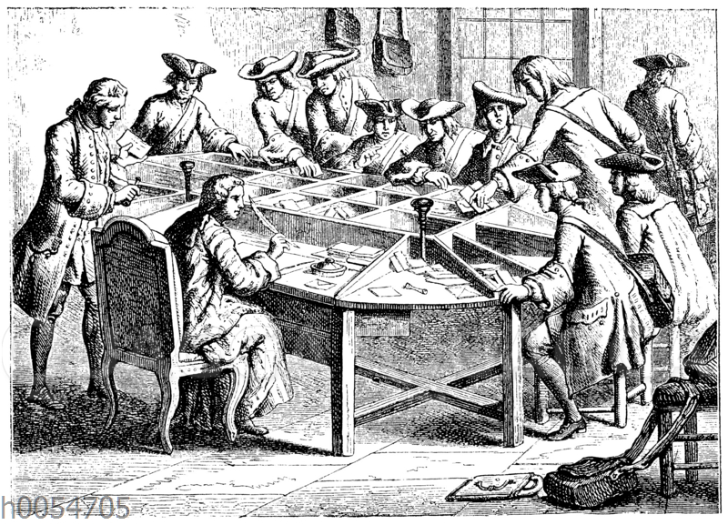 Französisches Postbüreau zur Zeit Ludwigs XV.