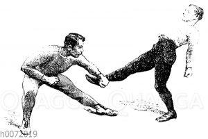 Boxen: Beinhalten bei einem niedrigen Tritt