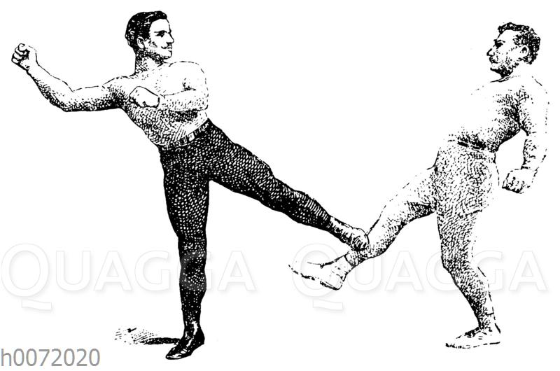 Boxen: Stopp des den Schlages beim Low Kick