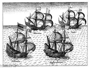 Niederländische Handelsflotte auf dem Wege nach Ostindien