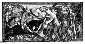 Alexander im Kampf mit Phantasiewesen