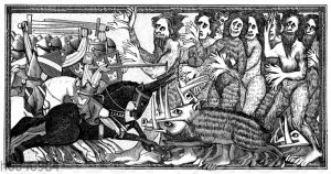 Alexander im Kampf mit sechhändigen menschennähnlichen Geschöpfen