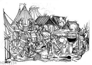 Szene in einem Landsknechtslager;