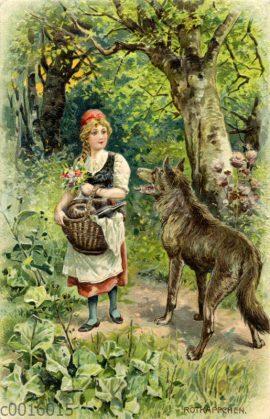 Rotkäppchen und der Wolf im Wald